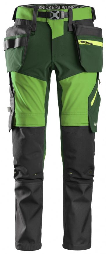 Snickers 6940 FlexiWork Softshell Stretch Work Trousers Holster Pockets (Apple Green / Forest Green)